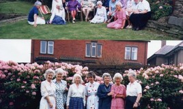 <p>The top half of the image shows DBL (Miss Lickes, headmistress 1947-67 and much revered; she certainly had a presence) wearing a purple dress, a favoured colour of hers and seated in a deckchair (3rd from right)  According to Vera, it was a beautiful April afternoon. </p> <p>The bottom half of the image shows OGs of the 30's.  l-r;  Kay, Ann, Gaynor, Pauline, Thelma, Morfydd (ref obituary Morfydd Rees) and Vera - read her story ('My Life at DWS by Vera Gibbon) spanning two years - 1933-35   </p>