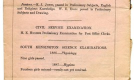 <p>By 1887 there was a new headmistress, Eliza Anne Fewings. There were 11 boarders and 30 daygirls when she started in 1886. This programme seems to be mostly a musical entertainment, although it also celebrates pupils' Public Examination success. </p>