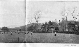 <p>The centrefold of the 1903 prospectus shows 15 girls dotted around a field playing hockey. The girls are all wearing hats,long sleeved blouses and long skirts.  Cattle can be seen in the picture too. Presumably the livestock were separated by a fence from the players.  </p>