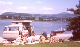 <p>Group of 60's pupils enjoying a picnic by Bala Lake.  We were taken out for the picnic by Mr Addie (Clerk of Works).  Christine Grocott, Lesley ????, Lesley Jones, Eirian Davies and Sally Jones.  Some faces are unidentified, feel free to leave a comment and fill in any gaps.  
