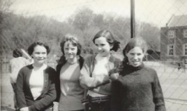 <p>Taken on playing fields next to tennis courts after school in 'Any Clothes'. Left to right, Helen Bird (Kipper), Anne Clayton (Claytey), Ceri Williams and Jenny Mott. </p>