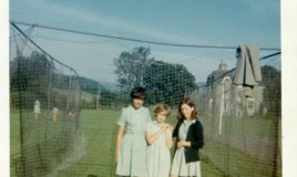 <p>Melanie Forbes, Catherine Lloyd and Judith Hill in the cricket nets. </p>