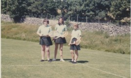 <p>Sybil Williams, Catherine Mason and Joan Edwards on the grass courts at Penycoed about 1966