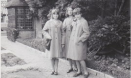 <p>Elizabeth Chapman, Jane Benson and Anne Edwards at New Place on 2 day trip to Stratford. All in summer uniform. </p>