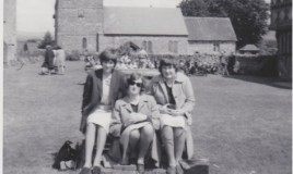 <p>Eirlys Roberts, Elizabeth Jones-Evans and Sybil Williams at Stokesay Castle around 1965