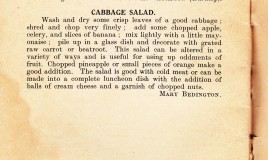 A page from the Dr Williams' School cookbook detailing a recipe for happiness and a recipe for cabbage salad.