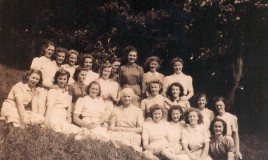 "<p>Form 5SC, July 1942, with form mistress, Dorothy M Davies (""Do""), just after taking School Certificate exams. Back row (L-R): Gwen Louis-Jones, Nancy Mayer, Mary Carter, Kath Allbrook, Mary Trotter, Peggy Voysey, ""Mopsy"", Barbara Lloyd. Middle row (L-R): Joan Whittingham, Barbara Mason, Kath Williams, Ronnie Rees, Mair Helena Davies, Janine Griffiths. Front row (L-R): ""Bread"", Daphne Frizell, Sophy, ""Do"", Sheila Miller, Novello Evans, Jean Petty, Gwladys Evans. </p> <p>""Do"" (pronounced ""Doe"") was a DWS legend - a former boarder, who returned to the school to teach English for 42 years and retired in 1961. She was an inspiration to many pupils.  </p>"