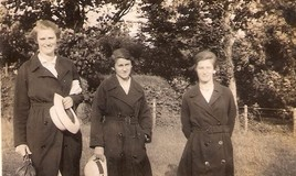 <p>The three girls are wearing their school uniform coats and carrying their school panama hats. K. Singleton was Gladys Dutton's best friend. </p> <p>Gladys was sent to DWS from her home in Mexico. This photo is from her collection. </p>