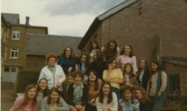 <p>Photo taken next to the tennis courts in the summer term. Possibly upper 5th form. Some familiar faces are Meryl Davies (2nd row up on the left), Ceri Williams (2nd to the right of Meryl), Elspeth Webb (back row in the middle of 3), Eirian Davies and Amanda Thomas (2 standing on the right end and Maggie Williams (2nd from the right on bottom row). </p>