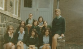 <p>Photo taken on back steps to school from tennis courts and playing fields. Maggie Williams (2nd from right on bottom row) and Sally Jones (Right end of bottom row) </p>