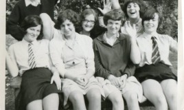 End of term relief..... <br> <p>L-R Jennifer Thomas, June Davies, Phyl Jones, Lyn Davies, Ellen Rees, Nesta Roberts </p>