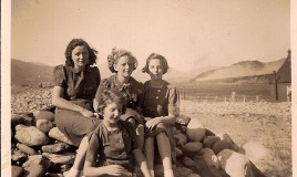 "<p>Third Form group taken at Friog (Fairbourne) in 1939. </p> <p>Back row (L-R):  Grace Jones, Jean Petty (Crowther), ""Frizzle"" (Daphne Frizell) Front row: ""Squibs"" (Ruth Morris) </p>"