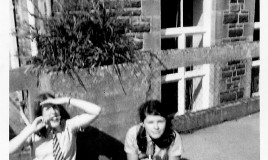 "<p>(L to R) Philippa Danks (""Danky"") and Heather Sales, in Lower 6th, enjoying ice lollies on the flat roof.  </p>"