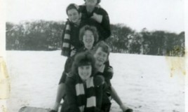 <p>Girls posing in the snow of 1963.  In the picture: Jenifer Davies, Eleri Williams, Aerona Jones, Anna Hughes and Yvonne Nicholls. </p>