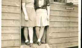 <p>Meinir Hall (nee Williams) and friend outside the DWS Beach Hut in the 1940's </p>