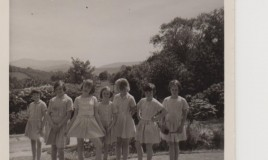 <p>A group standing at the front of Glyn Malden in 1967. From left to right: Chloe Thomas, Nicola, Vanessa, Barbara (?), Fiona Nesbit, Katherine Griffiths and Ann (I could be wrong - it was a long time ago!)