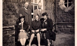 "<p>Sheila Hartley and parents, with Jean Petty's parents, sitting outside ""Bryn"" on a going out weekend in 1939. Bryn was a guest house on the Barmouth Road, where boarders would have lunch and tea with their parents. </p>"