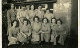 A group taken outside the kitchens: <br> <p>Blodwen, Rosie, Beryl, Jane, Gladys, Mary, Betty, Hannah, Margaret, Annie, Mattie </p>