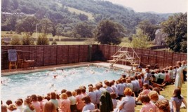 <p>An annual swimming gala in which the four school houses, all named after local lakes, competed for a cup. I don't think we did compete as Houses very often - just sporting occasions.  </p> <p>The editor recalls doing a back dive off the top board for her House one year. As she had never done this dive before, at any height, this did not turn out to be a good move.....  </p> <p>Click on Related Items to see more pictures and stories about swimming at the school. </p>