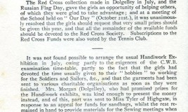 <p>Items in the School Notes from the School Magazine July 1915 describe the fundraising and practical projects undertaken by pupils to support the war effort.  </p> <p>'Sandbags Stop Bullets'( Headline- British Journal of Nursing 1915) </p> <p>How to make Miss Tyler's sandbags (Instructions found in the Journal of Nursing): MATERIAL: hessian or jute, SIZE: 33in by 14in when made up. SEAMS: Put edges together, turn them up once, together; Sew over strongly with string or stout linen thread (or machine twice with thread, NOT chain stitch). Take deep stitches, one end to be left open (lightly caught or raw edged) Turn bags inside out and tie on a piece of stout string to close sack when filled. </p> <p>NB:- Wide turnings, strong seams. The bags are tossed about and must stand strain. Empty bags sent to Miss Tyler will be sent to the Front without delay. Millions of bags are wanted. </p>