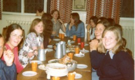 <p>Another picture of pupils eating the very last supper before the school closed in 1975