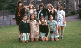 <p>When the school closed this class was the last Upper III class with Margaret Peel (Form Mistress).  Susan Hall and Karen Kemish are the only two identified. From an original slide transparency.
