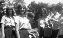 <p>(L to R): Barbara Mumby, Rosalind Sawyer, Sheila Knibbs, Jane Benson, Brenda Snell and Anne Edwards in games kit, picking fruit. I think it was in the grounds of Pen-y-Coed. </p>