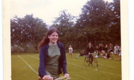 <p>Miss Pritchard (Welsh Teacher) in the bike race getting ahead of Mr Peel. </p>