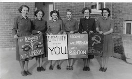 <p>Margaret Griffiths, Jeanette James, Gwyneth Powell, Pamela Thom, Anne Lloyd Davies and Mary Hewitt from Forms V1A and V1B debated at a Mock Election during the Easter Term 1949.