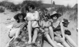 <p>Nesta Roberts and friends enjoying the sun at Fairbourne - and not a boy in sight!  How the boarders envied the local girls' freedom </p> <p>l-r:  Pat Wharton, Gwenda Edwards, Helen Parry, Jennifer Thomas </p>