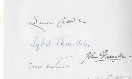 <p>A page from an autograph book includes the signatures of Dame Sybil Thorndike and that of her husband, the actor and theatre director Lewis Casson. Together they played the lead roles in a  production of Macbeth in the school hall at DWS on April 2nd 1941. 
