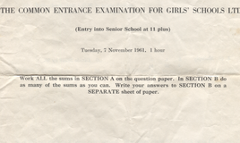 <p>One hour allowed to complete the paper, loaned to us by Sue Bramley who sat the exam in 1961.