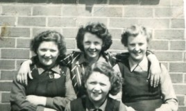 <p>Outside the classrooms 1947 - Gwenda, Eva, Margaret, Lowri, Tegwen Harris Jones </p>