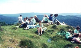 <p>Pupils on a picnic with Mrs Peel on the Precipice Walk - from an original slide transparency.
