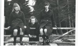 <p>We are not sure who the girls are in this picture but we think the walk could have been one we knew as 'Plantation'. </p> <p>'Plantation' was at the top of the hill, way above Penycoed, the biggest of the DWS boarding houses. There is housing at the photograph's location today.'Plantation' is no more. </p>