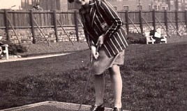 <p>Jean Petty (Crowther), aged 11, on the putting green at Blackpool during the Easter holidays 1939.  