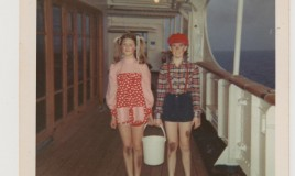 <p>School cruise in the Summer of 1973. 'Jack and Jill'- Mary Brickell (on the left) and me ready for the fancy dress competition. Boarded SS Nevasa in Southampton and visited Oslo, Helsinki, Leningrad and Copenhagen. </p>