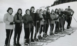 <p>One of two groups skiing at Leysin in 1969. From Left to right - Miss Eleri Edwards (Teacher of French), Janet Yates,Hilary Davies, Kathryn Evans (Ducky),a McLellen twin (unsure which one, sorry), Diana Bradburn, Janet Jones, Susan Matthews (Mattie), Margaret Rhys Williams,Lyn Morris,Helen Rees, Elspeth Webb, Amanda Thomas (Panda) and the Skiing Instructor.