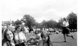 <p>(L to R): Janet Davies, Elizabeth Jones-Evans, Margaret Deighton and Susan Mallett watching the school's Sports Day held each year at Pen-y-Coed. </p>