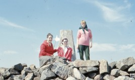 <p>This is the annual staff walk up Cader Idris in the late 60's.  Margaret Hewitt, Cynthia Evans and Pam Heron - from an original slide transparency.