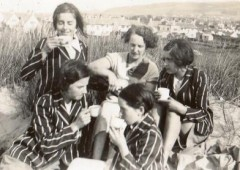 <p>Mary Roberts (nee Edwards) and Jean Tudor at the summit of Cader Idris in the 1940's having climbed on a school walk.