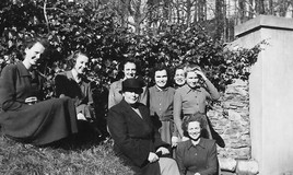 <p>Miss Jackson guided us through our applications to universities. </p> <p>Left to right - Dilys Jones, Margaret Griffiths, Joan Bankier, Pam Jenkin, Mary Hewitt, Pam Thom, Anne Lloyd Davies </p>