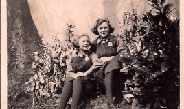 <p>Third formers Jean Petty (Crowther), aged 11, with Grace Jones, sitting in the school garden by the new school bridge in 1939. The bridge had been opened the previous year by Dame Margaret Lloyd George as part of the school's Diamond Jubilee celebrations. </p>