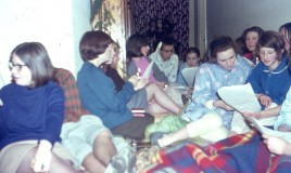 <p>A group of girls singing carols in their pyjamas at Llys Mynach. Mary Evans, Morfydd Rees, Margaret Tudor Evans, Marina Gethin,Elspeth Rhyner, Mary ????, Alison ????, Felicity Davies (Flick).From an original slide transparency.