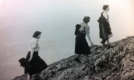 3 girls climbing Cader Idris, which was an annual event during the Easter term.