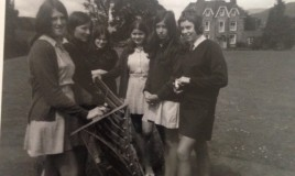 From left: Helen Rees, Julia Rickards, Mary Davies, Janet Yates, Lynne Morris, Jane Rowe. Just before we left school in 1970