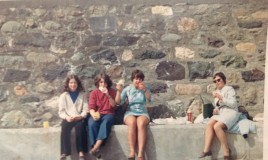 <p>Some overseas pupils didn't go out on exeat days and Sylvia Robinson ( English  teacher) and myself took three girls on a trip to Aberdaron. From left to right: Jane Saltman ( a boarder from Newfoundland), Caroline Sandy (from??) and ??? ( could she have been Stella Brewster?) And Sylvia Robinson. </p>