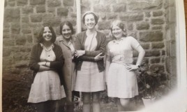 <p>Left to right  Siân James, Aberystwyth, Ann Morgan, Talybont, Miss Mair Pritchard, Domestic Science teacher and Ann Lewis. Sadly, Siân James has passed away.