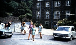 <p>This is a picture of me ( Kay Freeman ) and my best friend at DWS Merilyn Hamish ( Merry) with my Mum. Parents parked on the tennis courts!  This was a rare treat for me as my parents lived in Germany and I usually went home by coach and train.  </p>