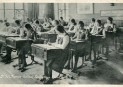 <p>Lower IVth pupils in summer uniform taken in a classroom during Summer Term 1962